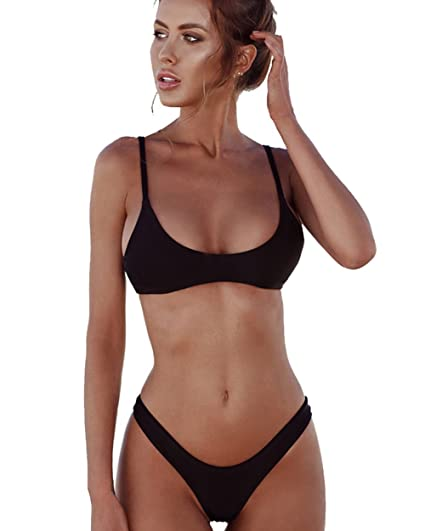 f9de1d0227 Aliex Womens Bikini Set Swimwear Brazilian Padded Top Summer Swimsuit Solid  Color Triangle Bottom Black XL