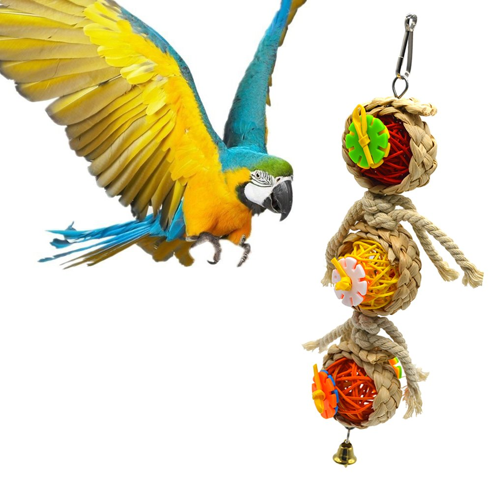 SHANTU Parrot cage toys bird swing toys bells bird perch with natural Wood Beads Bells Wooden Hammock Hanging Toys for Budgie Lovebirds Conures Parakeet African Greys Amazons Eclectus Cockatoos