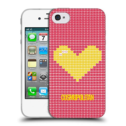 Official Cosmopolitan Yellow On Red Pixel Heart Lovey Soft Gel Case for Apple iPhone 4 / 4S