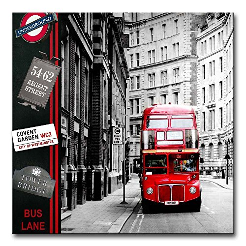 Canvas Print Wall Art Painting London Street Scene Red London Bus England City Uk British Vintage Buildings In Black And White Paintings Modern Giclee Stretched And Framed Artwork  British Isle Bedroom