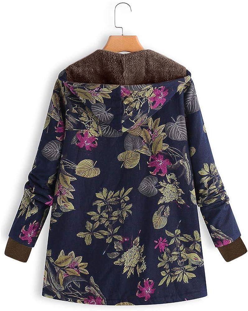 LEXUPE Damen Winter Warm Dicker Outwear Parka Mantel Jacke Blumendruck mit Kapuze Taschen Vintage Oversize Outwear M/äntel Coats