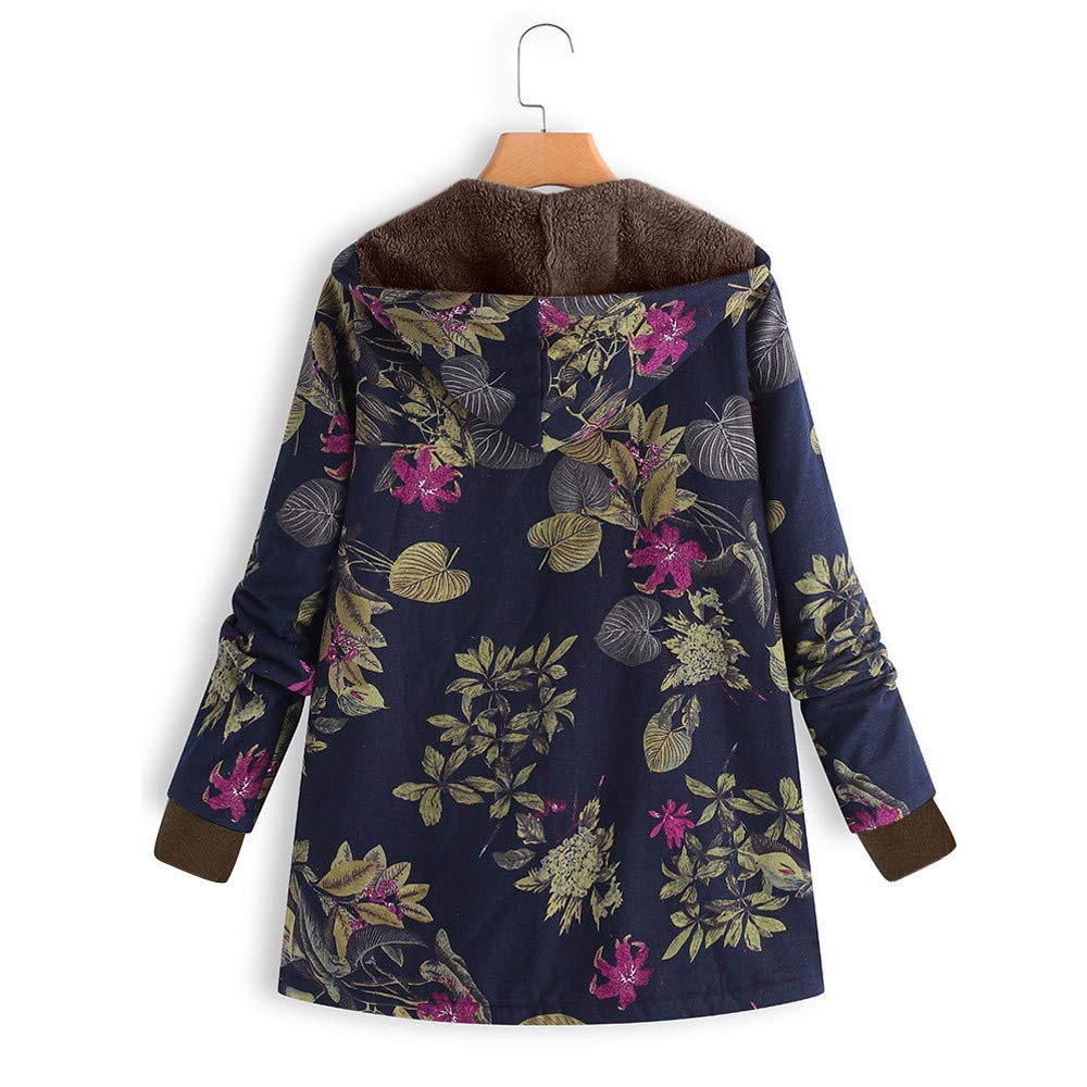 Amazon.com: Pgojuni Womens Winter Warm Outwear Floral Printing Fashion Hoodies Pockets Vintage Style Oversize Coats 1pc (Navy, S): Home & Kitchen