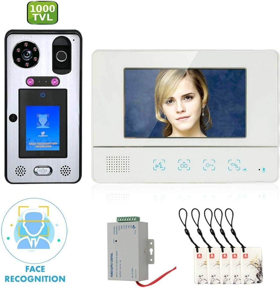 Videoportero inteligente DYWLQ,kit de sistema de intercomunicador de timbre de 7 pulgadas con reconocimiento facial,IR 92°1000TVL Cam,huellas digitales,huellas digitales,desbloqueo contraseñas RFIC