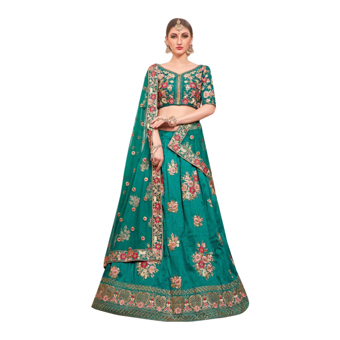 Amazon.com Bollywood style Designer Phantom Silk Lehenga
