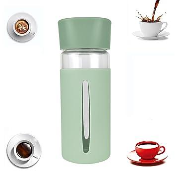 Tazas Cafe Botella Agua Cristal Silicona Vidrio 0,4L Sin Bpa Verde