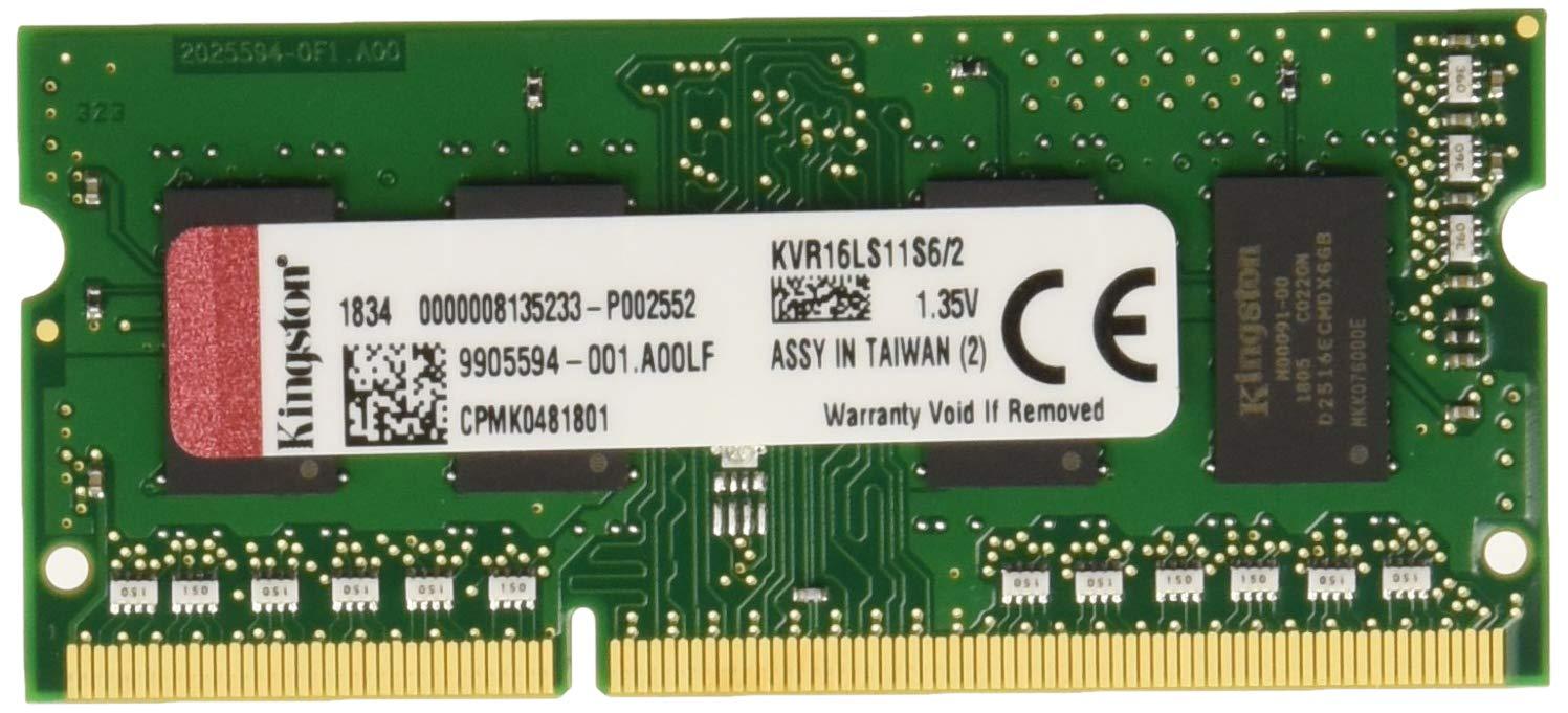 Kingston KVR16LS11S6/2 - Memoria RAM de 2 GB (1600 MHz DDR3L Non-ECC CL11 SODIMM 1.35 V, 204-pin)