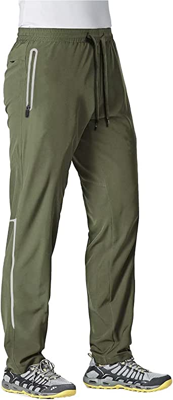 MAGCOMSEN Men's Quick Dry Running Jogger Pants with Zipper Pockets Open Bottom Sweatpants for Workout, Gym, Hiking