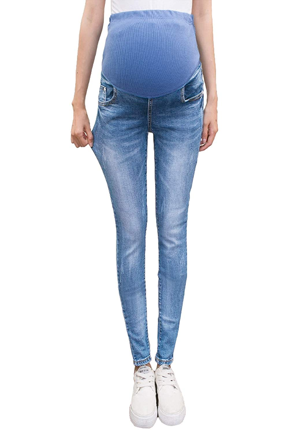 bd56bf991ddac Maternity Pants Over Belly Skinny Stretch Slim Denim Jeans for Pregnancy  Women at Amazon Women's Clothing store: