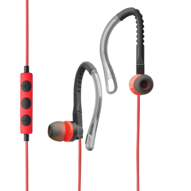 MAXROCK(TM) Sport Stereo Headphones with Microphone and Remote Volume Control Adjustable Flex Earhook Earbuds