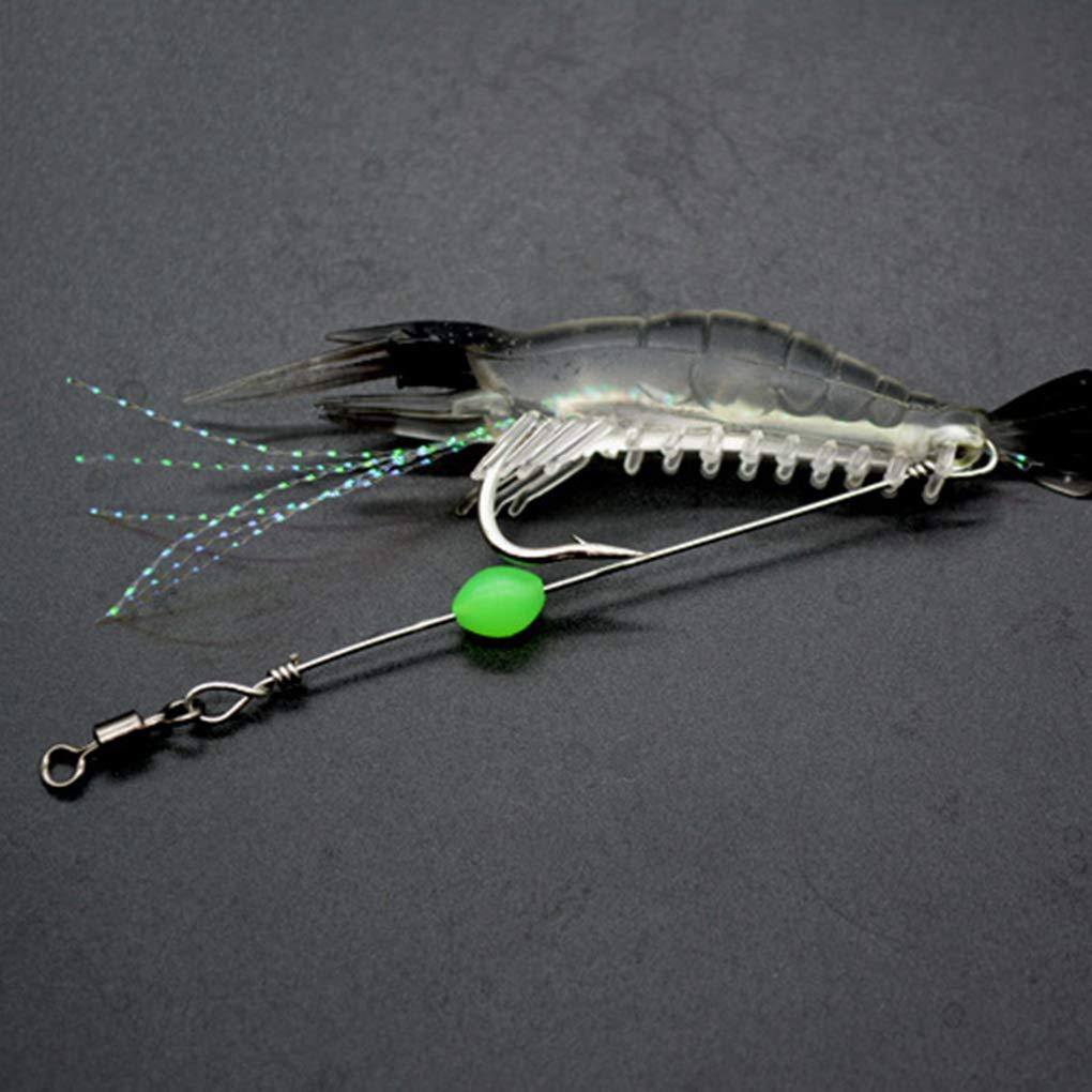 Busirde 3pcs pl/ástico se/ñuelos Artificiales Jefe Negro Cebo Transparente camar/ón Luminoso Spinner Gancho de Pesca
