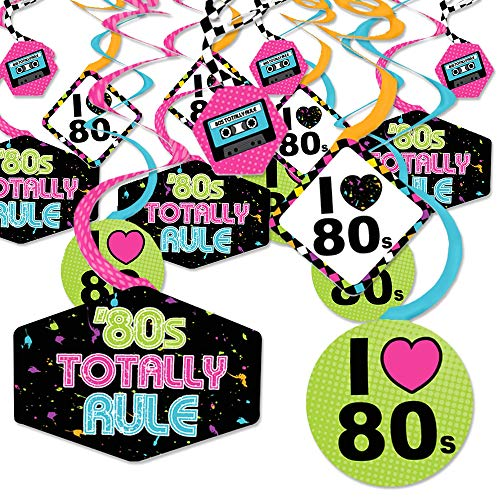 80's Retro - Totally 1980s Party Hanging Decor - Party Decoration Swirls - Set of 40 -