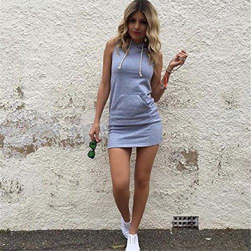 Gris sin con las Culater verano mangas de mujeres vestido Moda capucha del ocasional wAq7XvqfHx