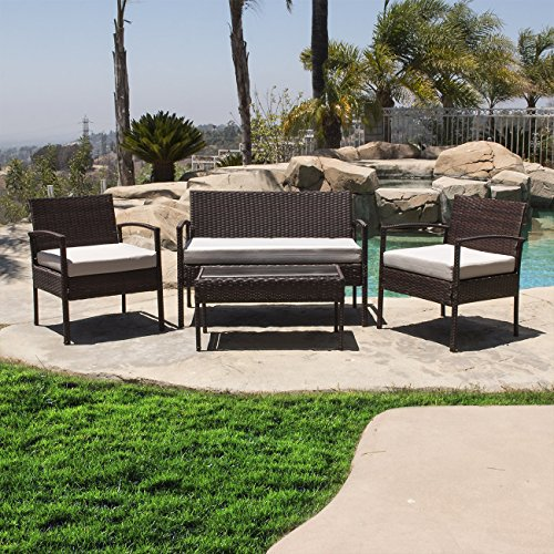 Belleze 4PC Rattan Sectional Patio Furniture Set with Seat Cushion Outdoor Backrest PE Wicker Sofa Coffee Table, Brown