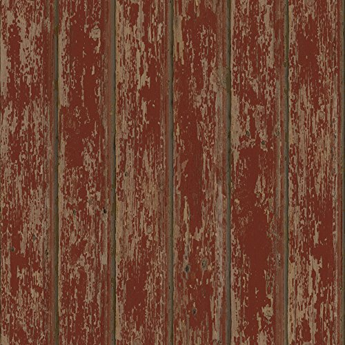Chesapeake PUR66103 Brax Red Faux Weathered Clapboards Wallpaper