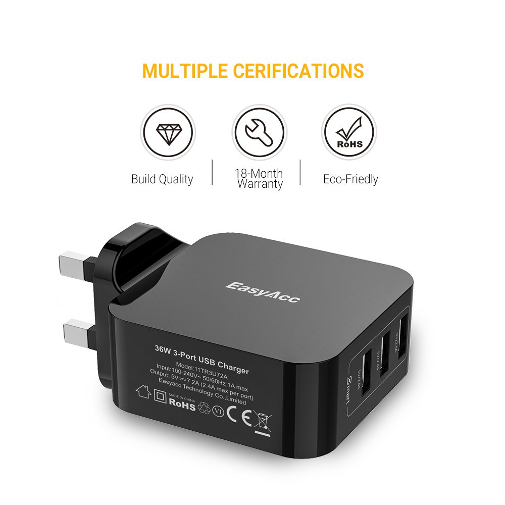 EasyAcc Mains USB Charger 3-Port Wall Charger 36W Adapter for Samsung S8 S7 S6 A5 2017, iPhone 6 8 X 7 iPad and More