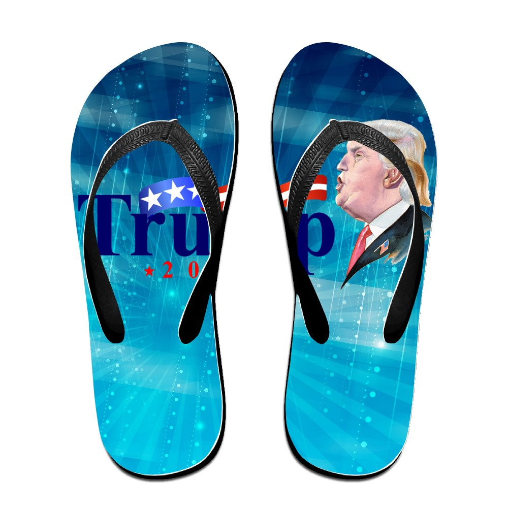 Shehe President Election US 2016 Unisex Leisure Beach Flip-flops Sandals Black