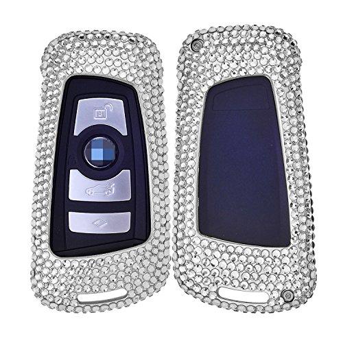 (M.JVisun Handmade Car Keyless Entry Key Bling Diamond Case Cover Fob Skin for BMW 1 Series 2 (Part) 3 / GT 4 5 6 Series X3 X4 M2 M3 M4 M5 M6, Aircraft Aluminum Shell + Cowhide Key Chain - Silver)