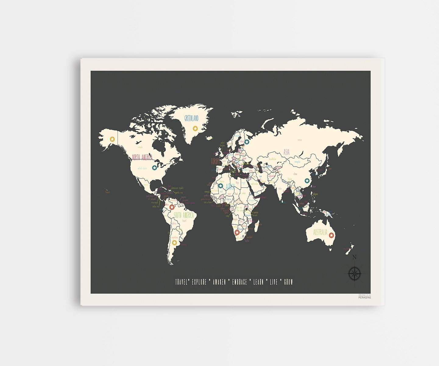 World Travel Map, Vintage Personalized World Map, 11x14 Inch Print Wall Art Print, hildren's Wall Art Map, Kid's Travel Map, Nursery Décor, Wall Map, Nature Themed Nursery Décor, Nursery Wall Art hildren's Wall Art Map Kid's Travel Map Nursery DÃ