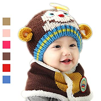Amazon.com  Brown Baby Hat And Scarf Combo e722aa7023e9