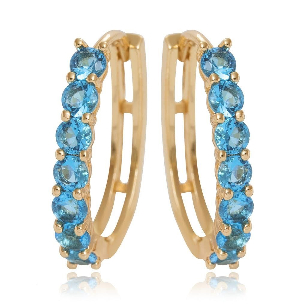 Olenata Gold Hoop Earrings for Women - Cubic Zirconia Earrings - Gold Plated Earrings - Cute Gold Hoops - Simulated Blue Topaz Earrings