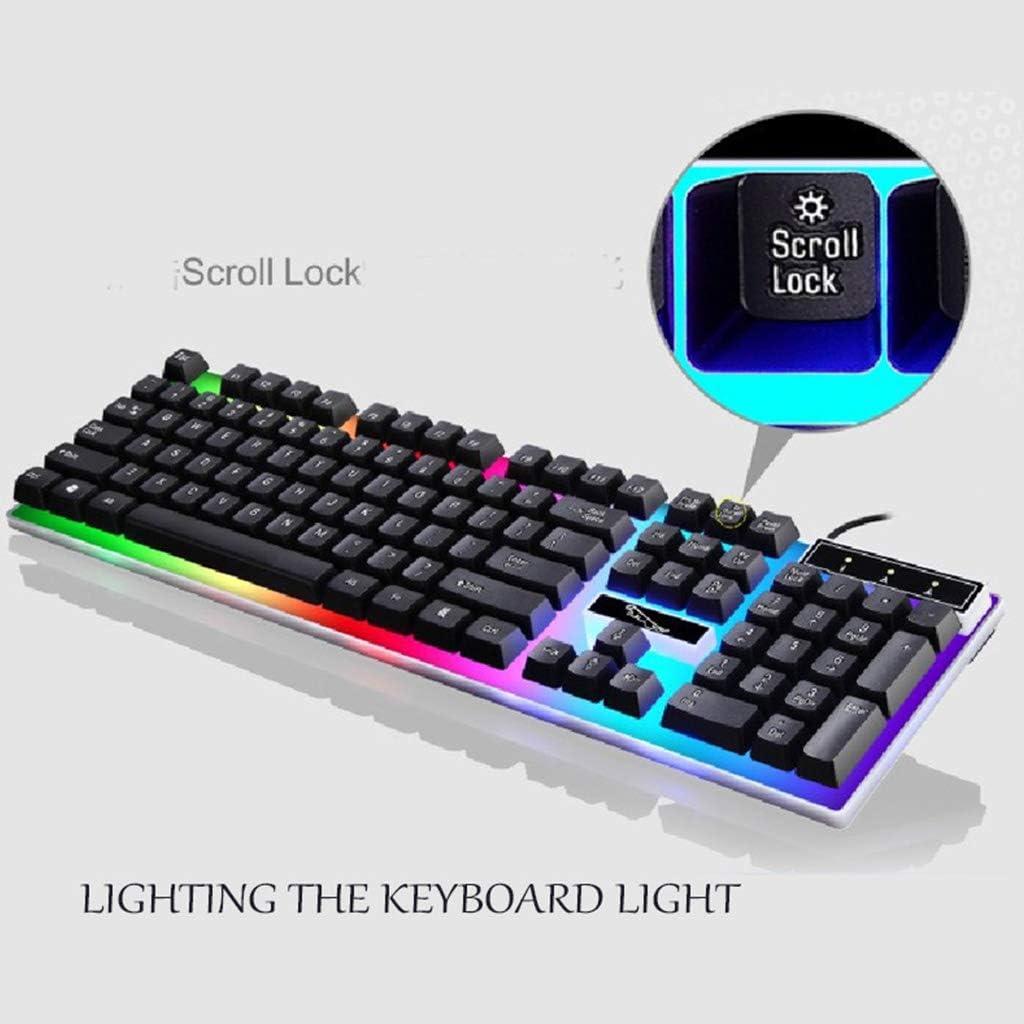 Ningyi683 USB Charging Light Keyboard /& Mouse Kit Rainbow LED Gaming Equipment