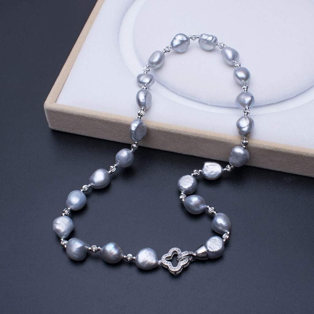 GLY Collar de Perlas en Forma barroca de 11 mm de Perlas cultivadas de Agua Dulce Gris Collar de Moda for Mujeres