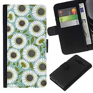 EJOY---La carpeta del tirón la caja de cuero de alta calidad de la PU Caso protector / Samsung Galaxy Core Prime / --Patrón del trullo de oliva Flor Floral
