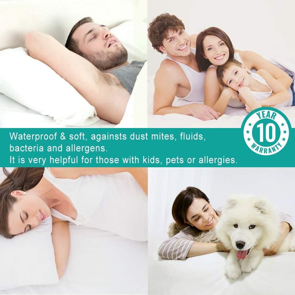 Vekkia California King Mattress Protector Waterproof Cover Bed. Soft Cotton Terry Surface Fabric, Breathable, Quiet, Hypoallergenic. Pet & Fluids Proof. Safe Sleep for Adults & Kids by Vekkia (Image #7)