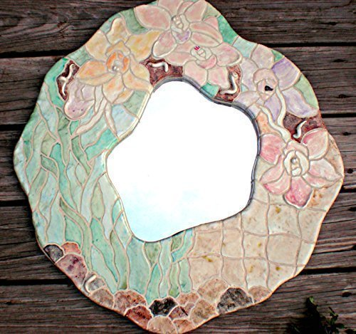 Orchid Mosaic Tile Mirror - 'AMOEBA' Series by Miche Mozaix