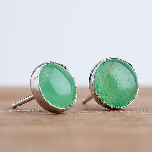 3583ae5fe Amazon.com: Light Green Aventurine Gemstone Stud Earrings in ...