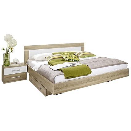 Rauch Bett 160x200 Mit 2 Nachttischen Eiche Sonoma Absetzungen Weiß