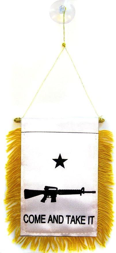 AZ FLAG BANDERIN Come and Take IT Fusil 15x10cm con Ventosa - BANDERINA REVOLUCIÓN Texana 10 x 15 cm para Coche: Amazon.es: Jardín