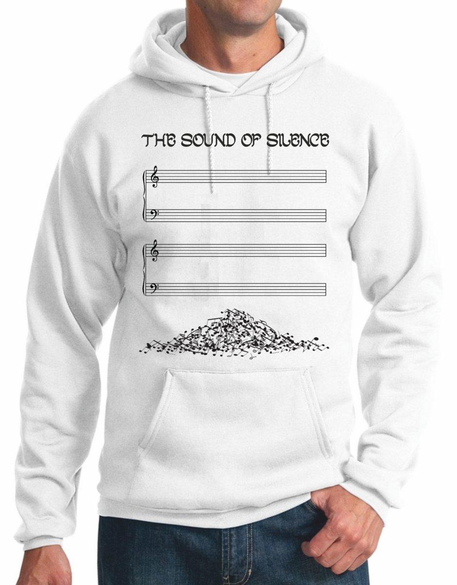 Felpa con Cappuccio The Sound of Silence Il Suono del Silenzio Note Musicali Music Musica Pentagramma S M L XL XXL Maglietta by tshirteria