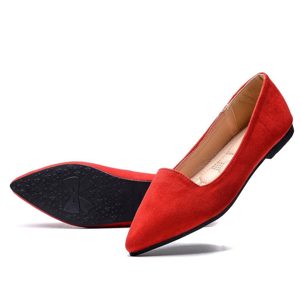 KONHILL Women's Ballet Flat Pointy Toe Soft Suede Ballerina Slip on Dress Shoes, Red, 41