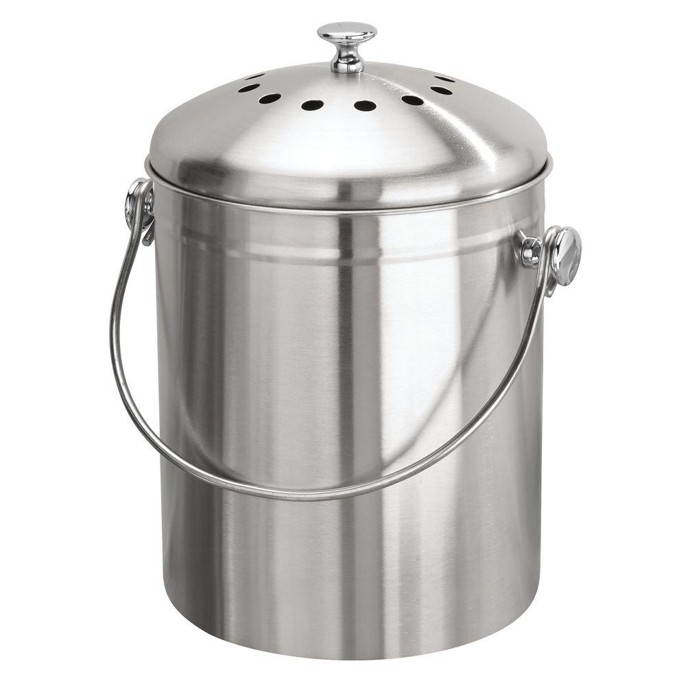 InterDesign Basic kompakter Komposter mit Kohlefilter für die Küche, tragbarer Komposteimer für Speisereste aus Edelstahl, silberfarben 32650EU