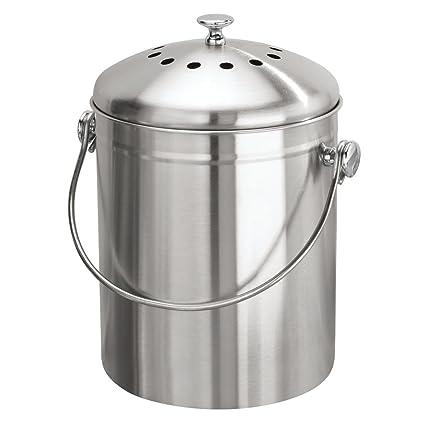 InterDesign Basic Compostador compacto de cocina con filtro de carbón, cubo de reciclaje portátil para
