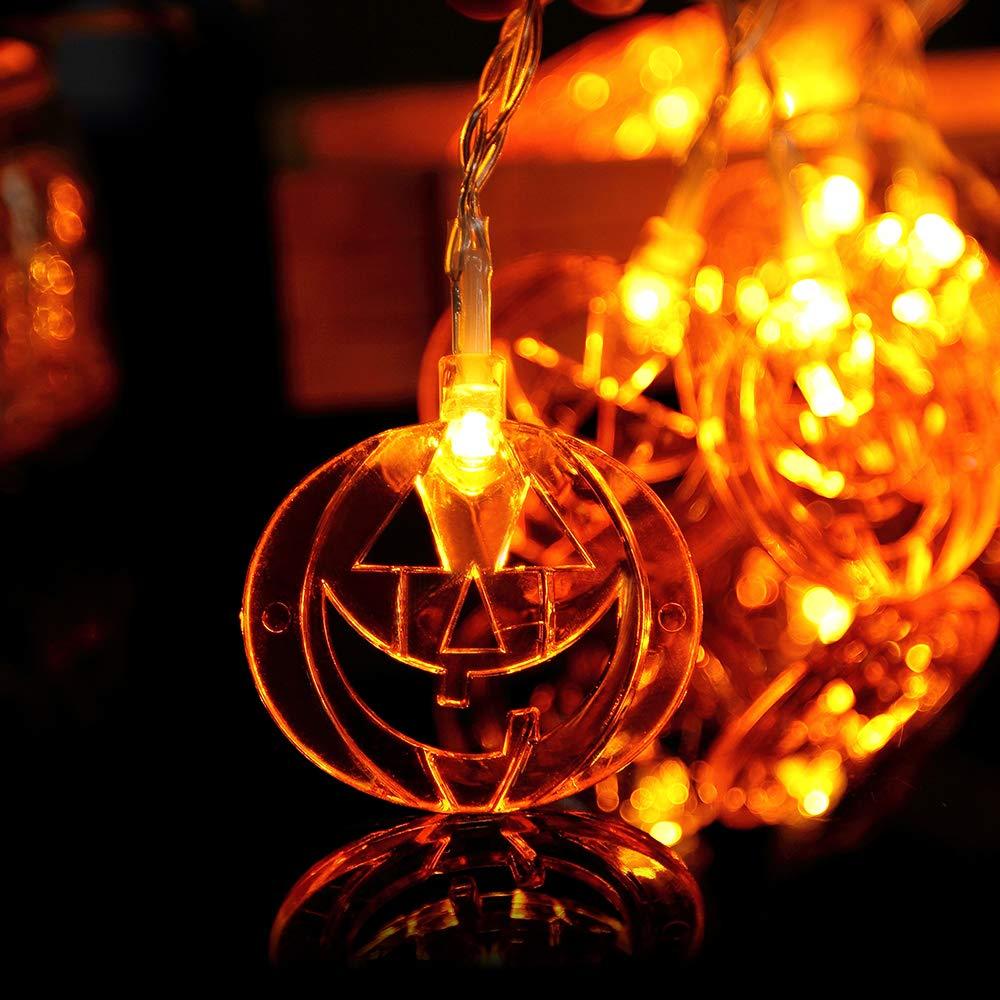 Gate Halloween Decoration Halloween stuff,Hiquity Halloween Pumpkin String Lights Solar String Light 30 LED Outdoor Decorative Rope Lights LED Pumpkin Garland Fairy String Jack-O-Lantern for Patio Garden Yard