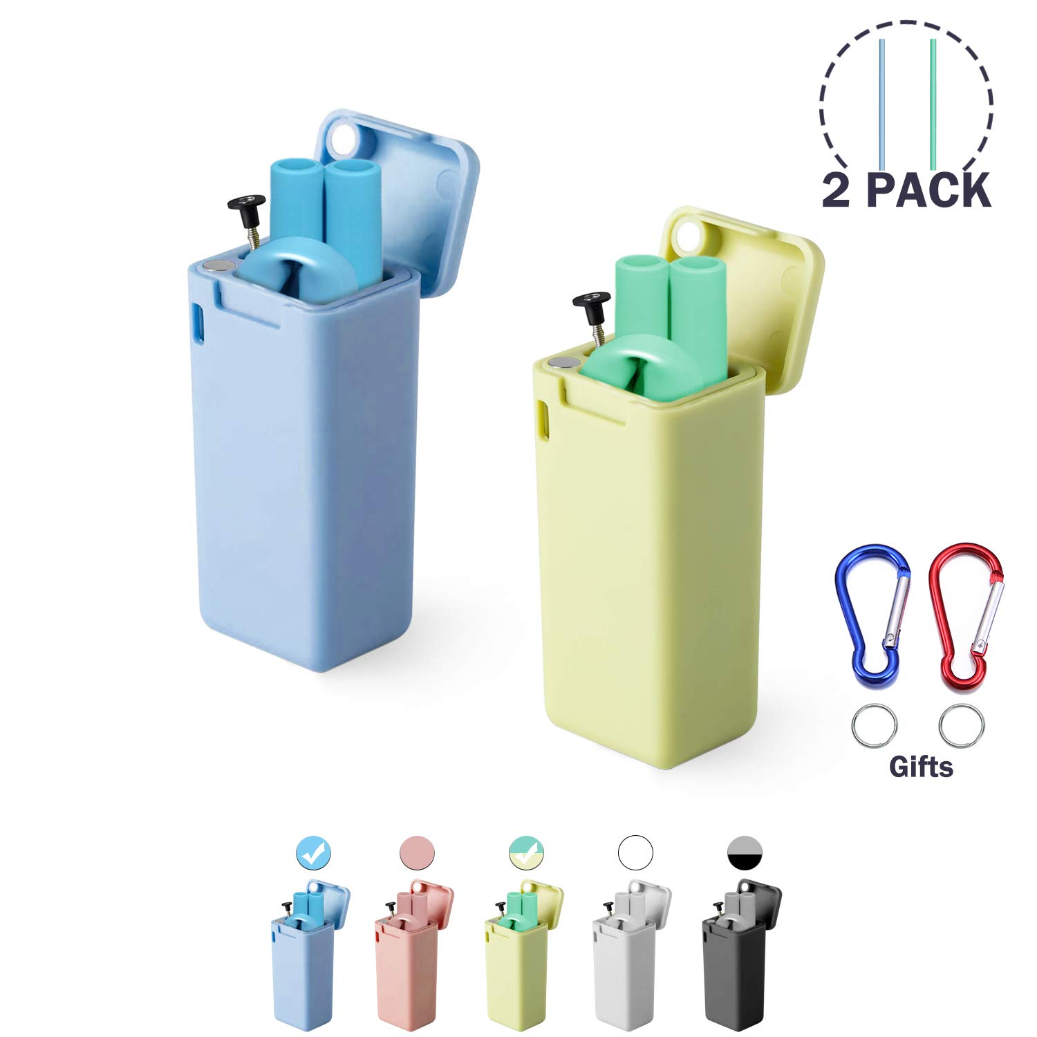 Blue/&Cyan Composed of Food-grade Silicone with Cleaning Brush /& Sturdy Carrying Case,For Gifts idea,Travel Extra Long 2 Pack Regular Size Reusable Drinking Collapsible Straws Party,Outdoor,Gym.