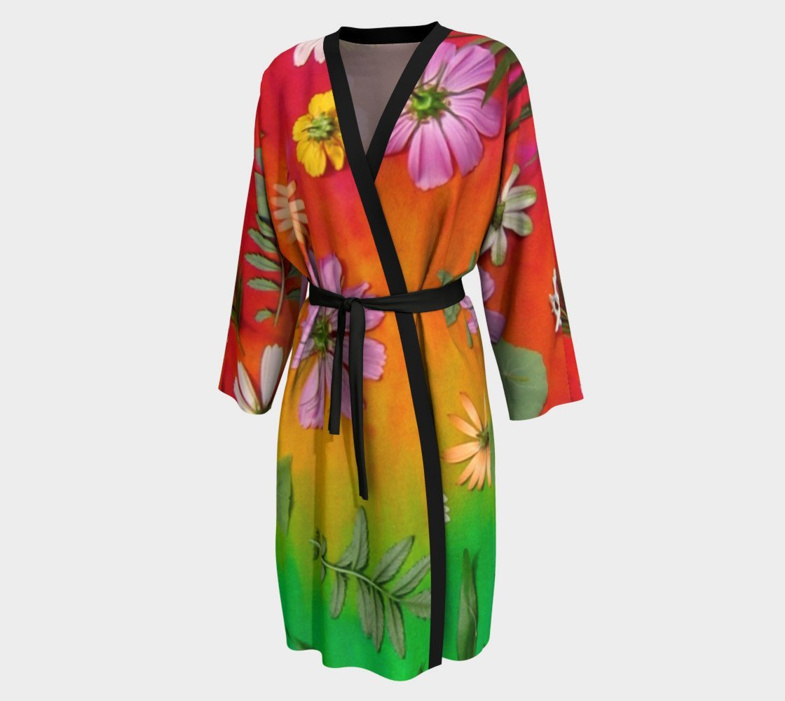 Tye-Dye Flowers Peignoir Robe Cover up with Rainbow Floral Design in Pink, Orange and Green