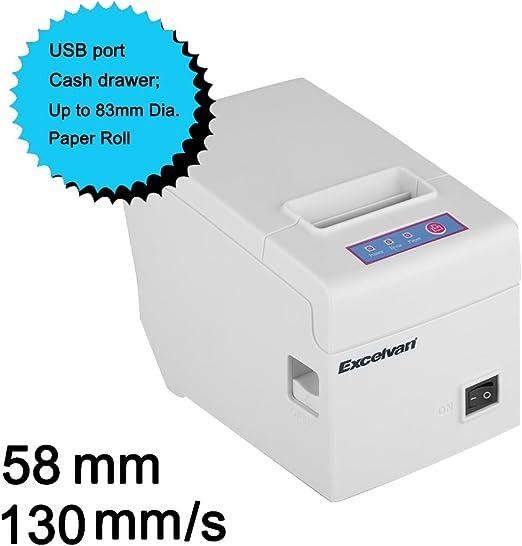 Excelvan Hop E58 - Impresora Térmica de Recibos y Billetes (Usb ...