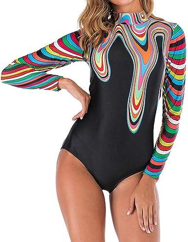 Women One-piece Swimwear Floral Bikini Long Sleeve Padded Surfing Beach Swimsuit