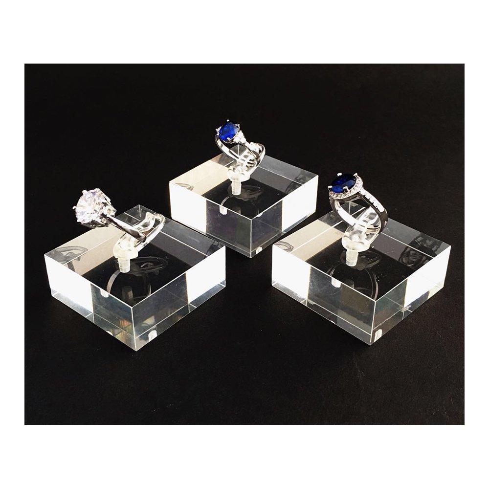 Clear Acrylic Ring Display Platform High Grade Material for Home Photography Shows Modern Fashion Elegant Platform Blocks Holder Set of 3 PCs (Clear 3 Slots)