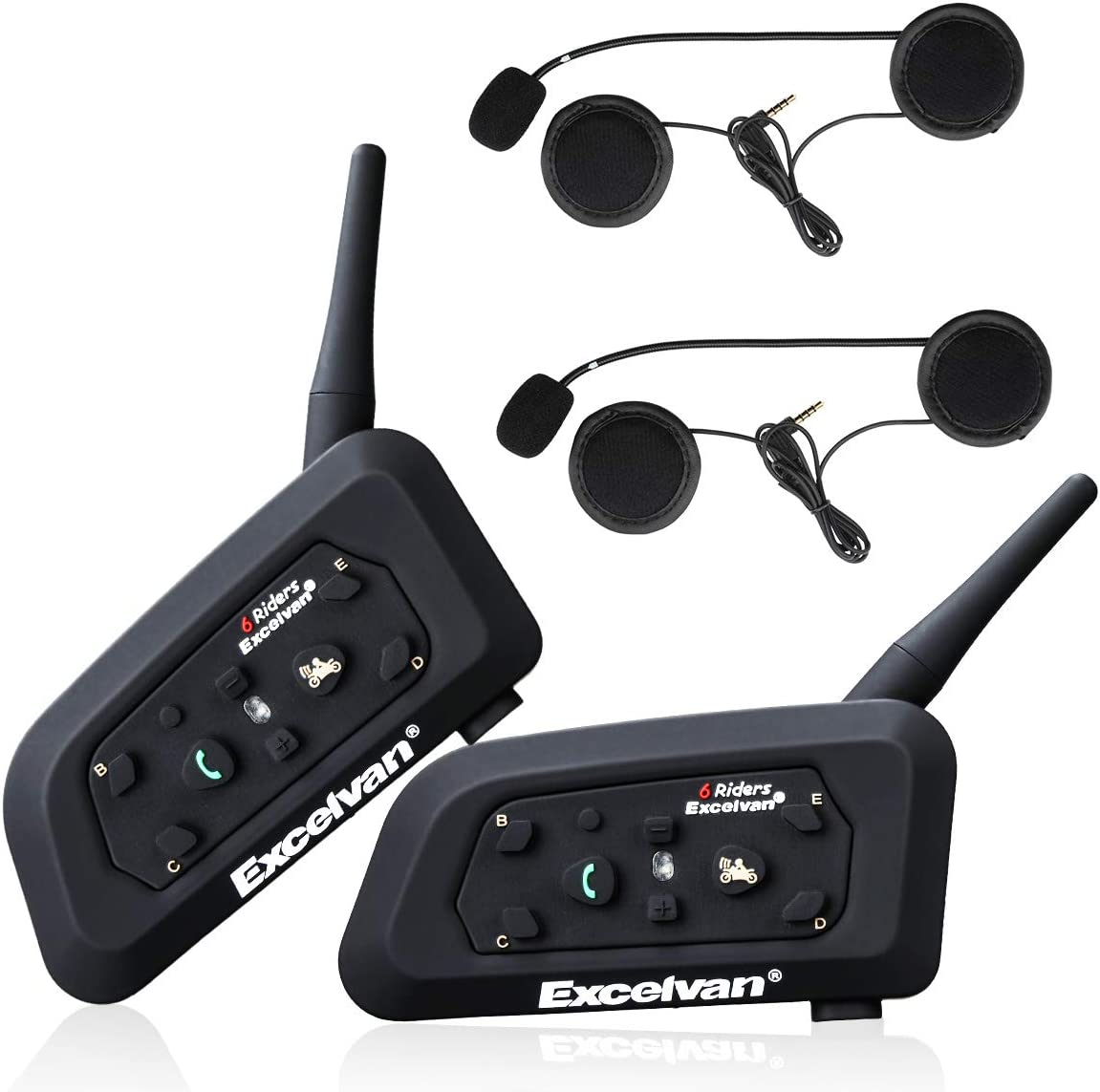 Excelvan 2pcs Motorcycle Intercom Helmet Bluetooth Headset 1 2km Wireless Motorbike Interphone Connect Up To 6 Riders For Riding And Skiing V6 Amazon Co Uk Electronics