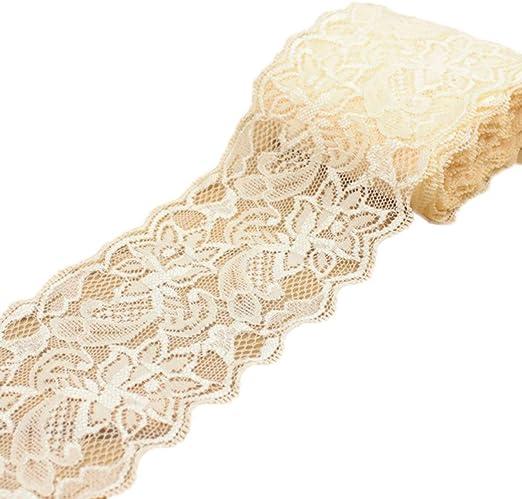 "3.5/"" Wide Per Yard Scalloped Fabric Trim Champagne Lace"