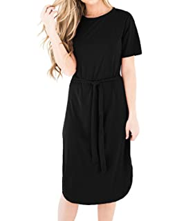 CNFIO Women Summer Casual A-Line T Shirt Dress Short Sleeve Midi Dress Loose O