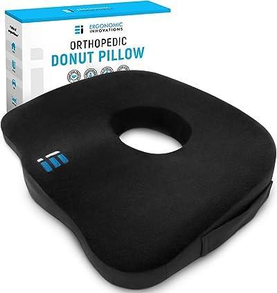 ERGONOMIC INNOVATIONS Orthopedic Donut Pillow: Memory Foam Chair Seat Cushion