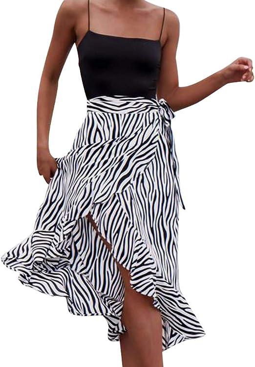 lkoezi Falda con Volantes para Mujer, diseño de Cebra, con ...