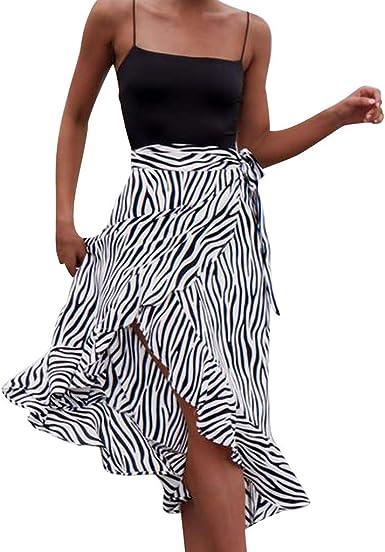 Vectry Moda Mujer Zebra A Rayas Estampado Bandage Open Fork ...