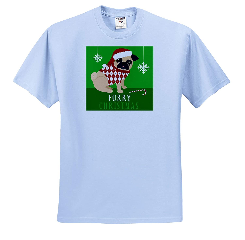 Adult T-Shirt XL 3dRose Janna Salak Designs Christmas ts/_310748 Furry Christmas Funny Pug