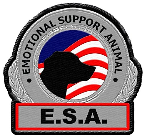 Emotional Support Animal - ESA Metallic Sew On Identification Patch for dog vest or harness